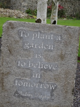 a stone carved with Audrey Hepburn's quote